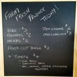 Daily fresh board at Salish Soils Farm Gate