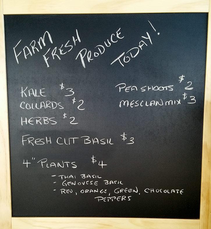 Daily fresh board at Salish Soils Farm Gate